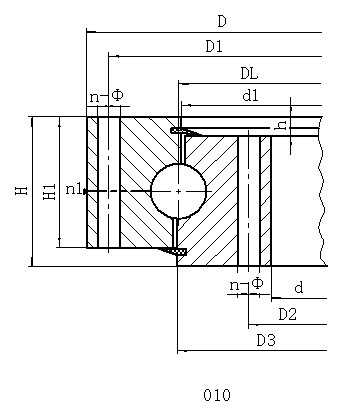 单排四点式无齿型转盘轴承